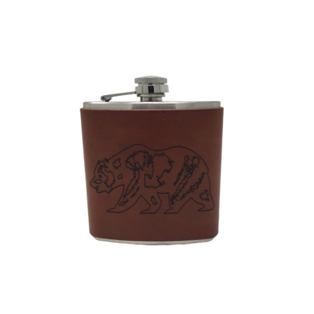 Epic Mens Novelty Handcrafted Brown Leather Stainless Steel Liquor Hip Flask