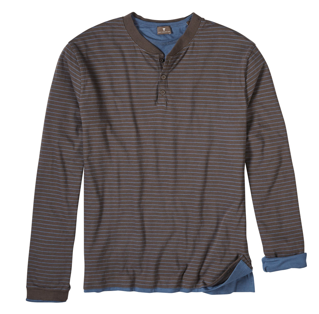 Left Coast Tee Mens Long Sleeve Reversible Henley Tee Shirt, Chocolate Stripe/Navy