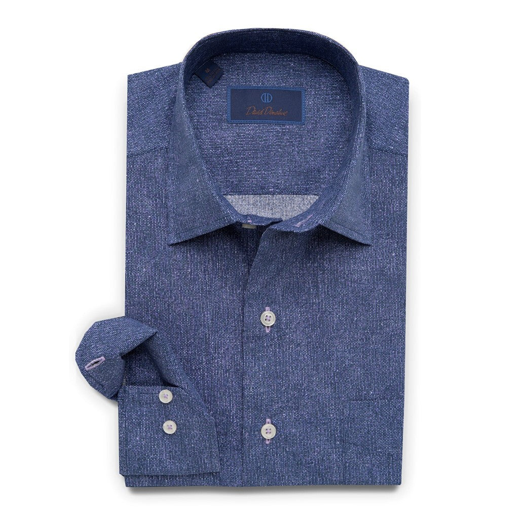 David Donahue Relaxed Fit Micro Print Sport Shirt, Navy/Purple