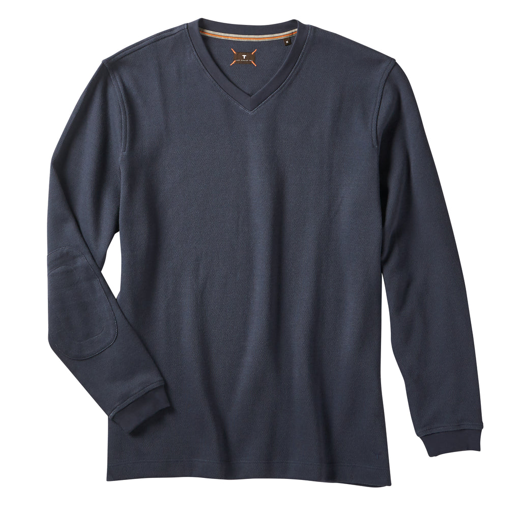 Left Coast Tee Mens Long Sleeve Vee Neck Cotton Sweat Shirt, Navy/Cobalt