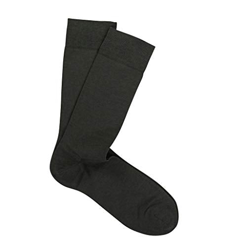 Marcoliani Men's Pima Cotton Lisle Classic Plain Mid Calf Socks (Navy)
