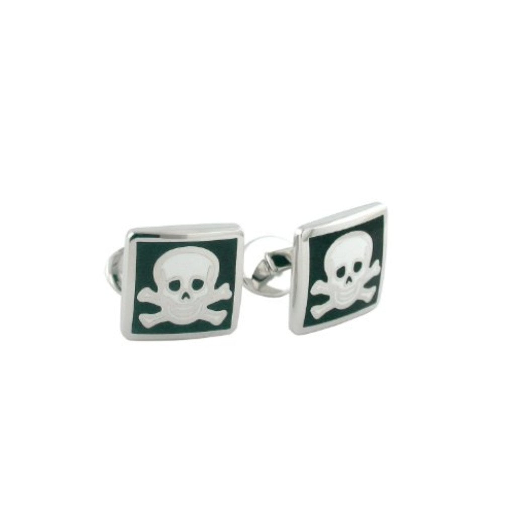 David Donahue Men's Sterling Silver Skull and Cross Bones Cufflinks (CL059802)