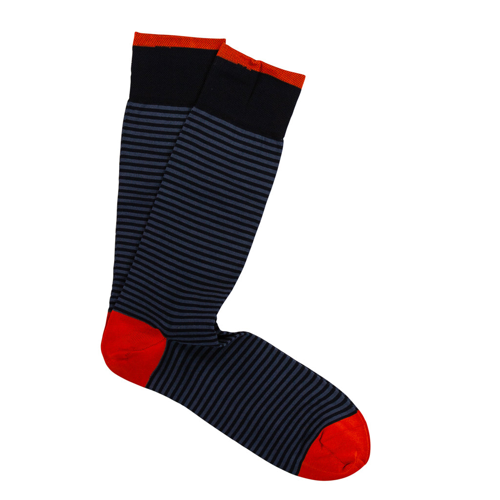 Marcoliani Milano Mens Mid Calf Palio Stripe Pima Cotton Socks