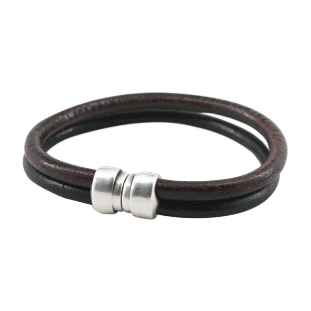 Torino Leather Co. Men's Genuine Two Tone Leather Tube Art Deco Bracelet
