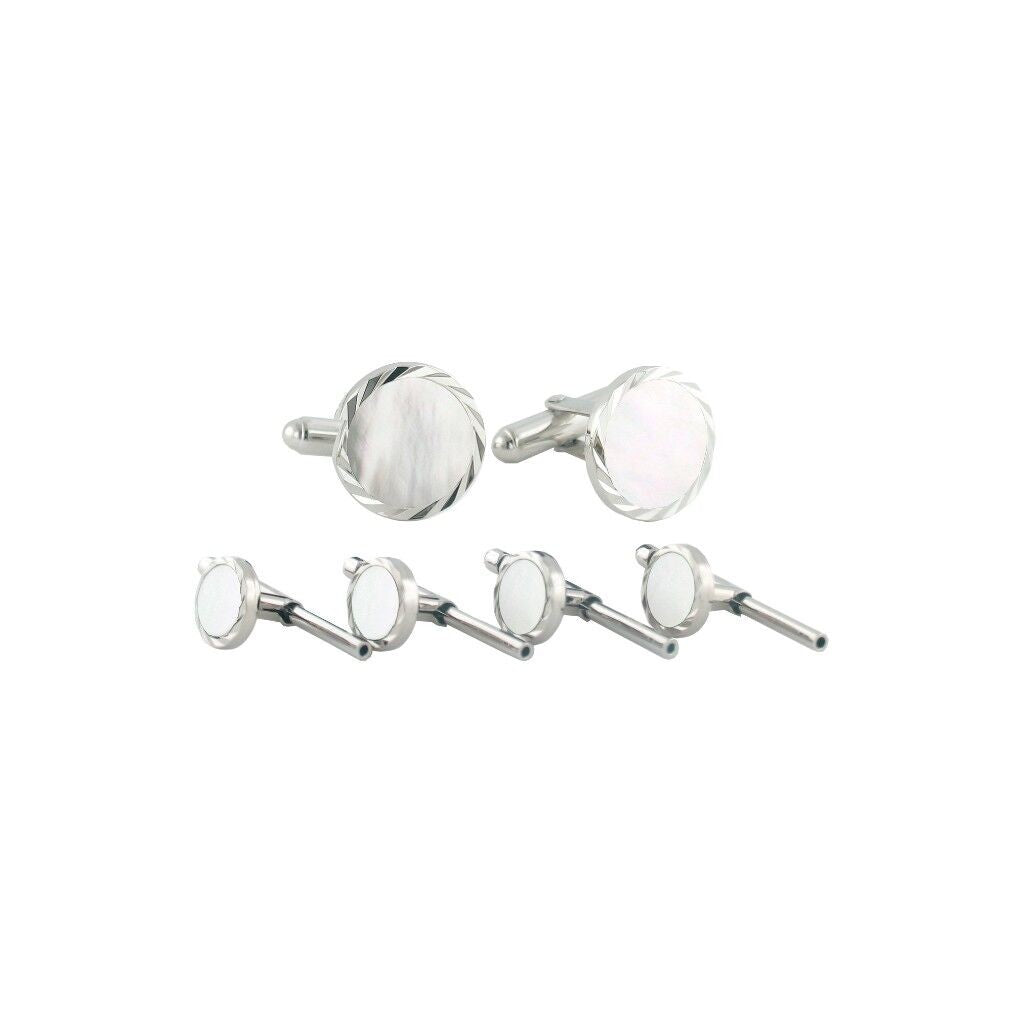 David Donahue Men's Sterling Silver Mother of Pearl Diamond Cut Cufflinks Stud Set (SS890702)