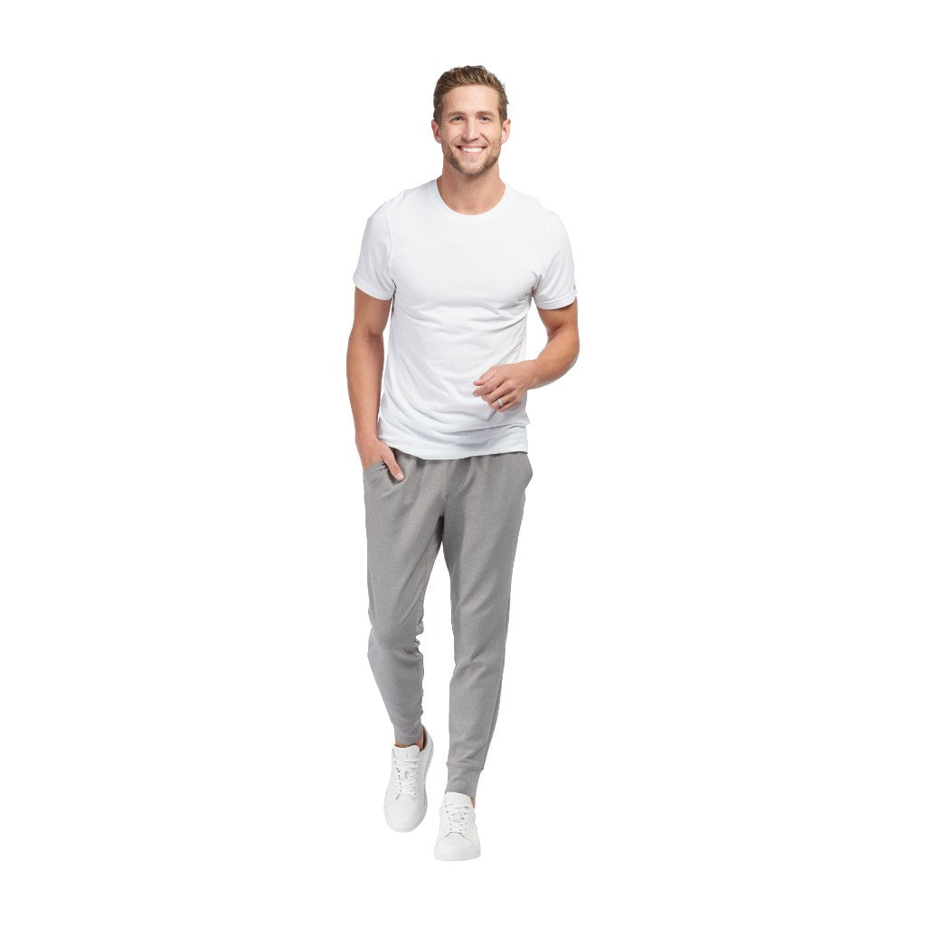 Rhone Mens Spar Tactel Athletic Performance Tapered Jogger Sweat Pants - Light Heather Gray