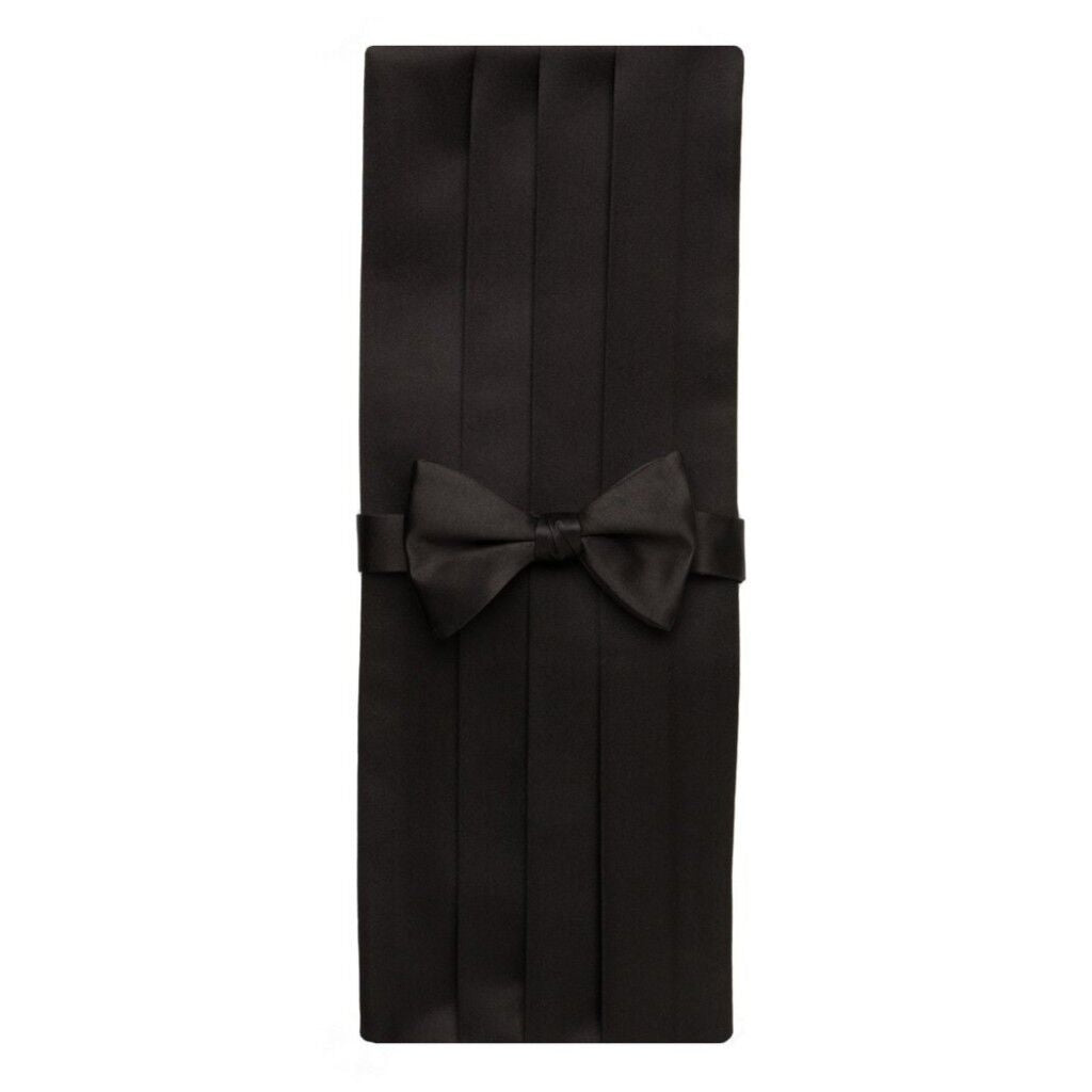 David Donahue Men's Satin Silk Pre-tied Bow Tie Cummerbund Set Black (CP100001)