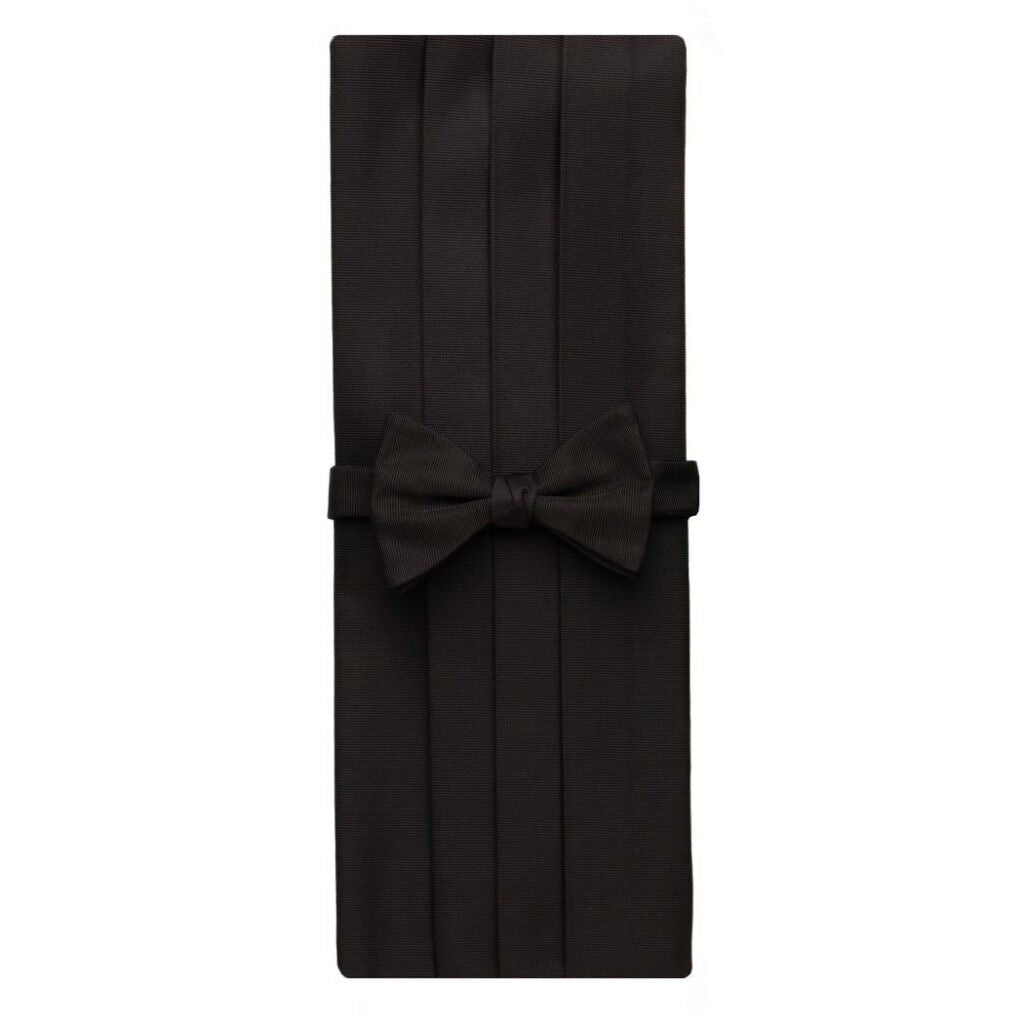 David Donahue Men's Faille Silk Pre-tied Bow Tie Cummerbund Set Black (CP110001)