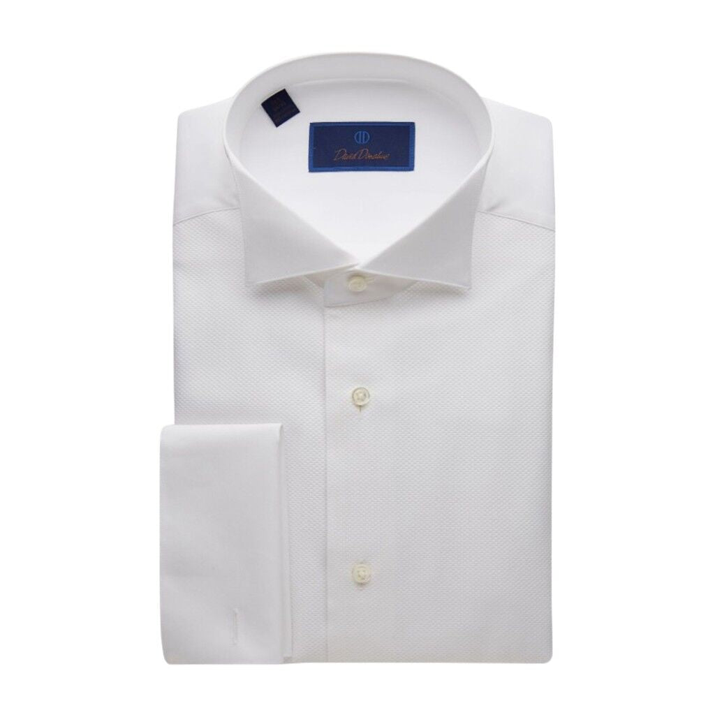 David Donahue Regular Fit Pique Bib Wing Collar Formal Shirt
