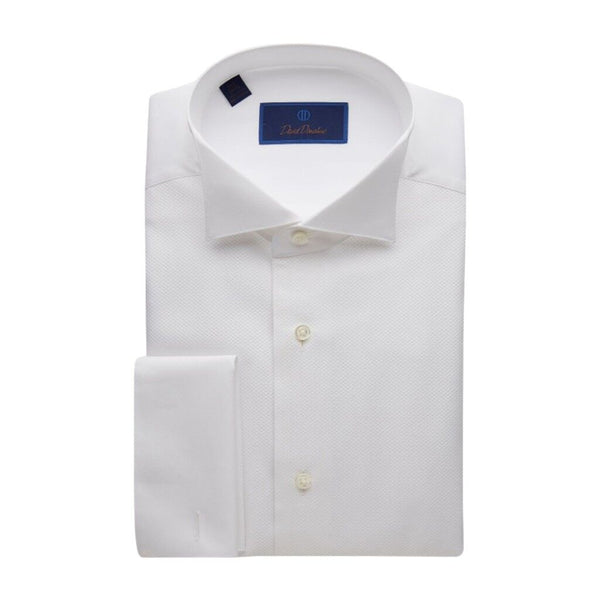 David Donahue Men's Pique Bib Wing Collar Regular Fit Formal Shirt