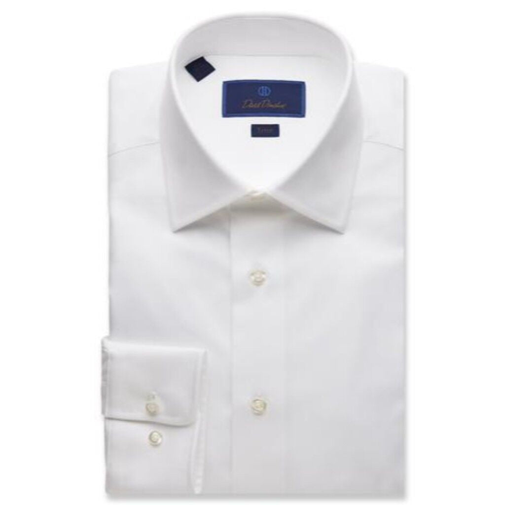 David Donahue Men's Royal Oxford Barrel Cuff Trim Fit Dress Shirt - Solid White
