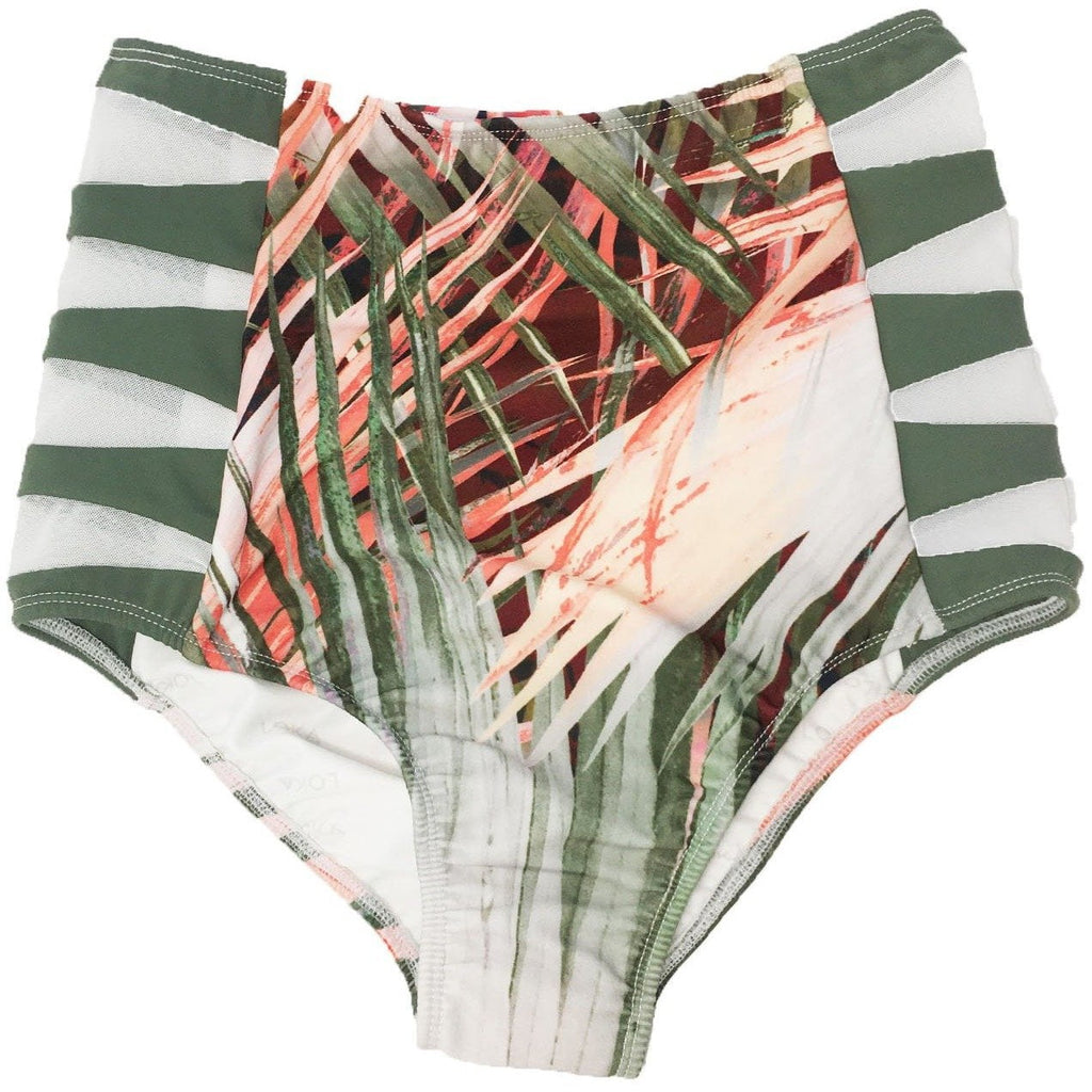 Wanderlust High Waisted Bikini Bottoms ~ Neon Palm Coral Print