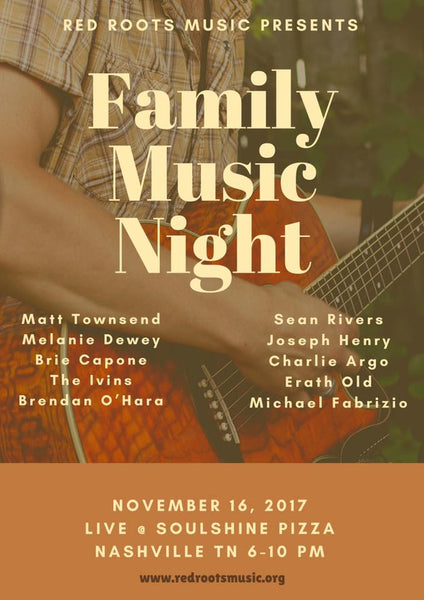 11/16 to be last Family Music Night Show of 2017.