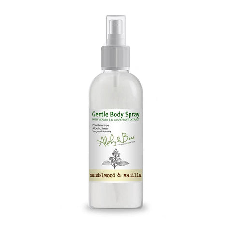 Alcohol Free Mist Gentle Body Spray - Sandalwood & Vanilla - With Vitamin E