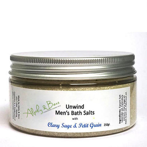 Men's Bath Salts with Clary Sage & Petit Grain.