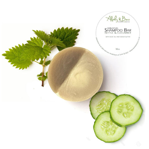 Natural Shampoo Bar - Nettle & Cucumber witn Olive Oil and Cocoa Butter - 90gr.