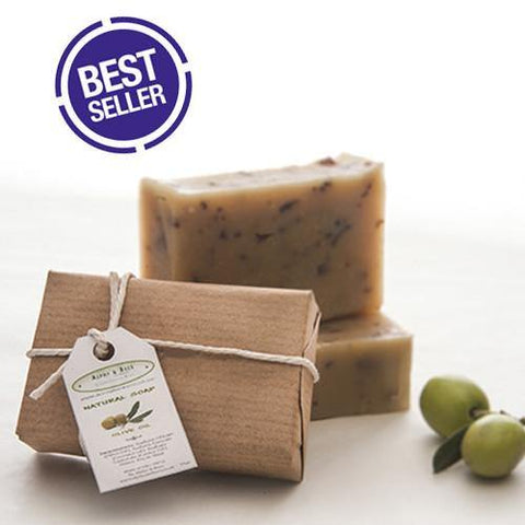 100% Natural Handmade Olive Oil Soap - Fragrance Free - With Fresh Mint - 90gr.