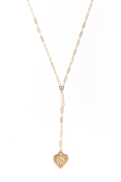 Lilia Cream Lariat Necklace