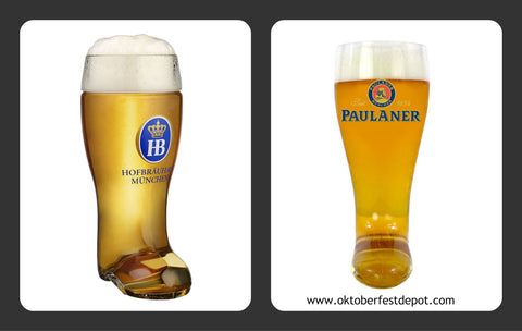 Hofbrauhaus and Paulaner authentic German glass beer boot