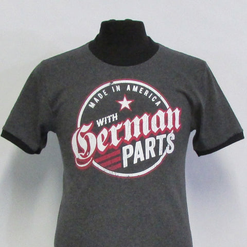 Made in America German Parts Emblem - Charcoal Grey/Black Ringer T-Shirt