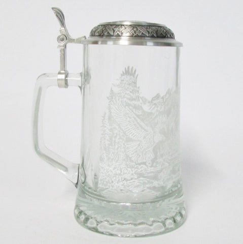 Bald Eagle .4L Etched Glass Beer Stein