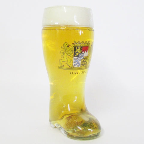 1L Authentic German Glass Beer Boot - Bayern Crest