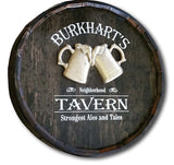 Neighborhood Tavern Beer Mug Barrel Head Personalized Home Bar Sign