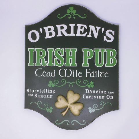 Irish Pub Sign Cead Mile Failte Personalized Sign 4393 Home Bar Sign