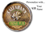 Personalized Irish Pub 3D Shamrock Oak Barrel Sign