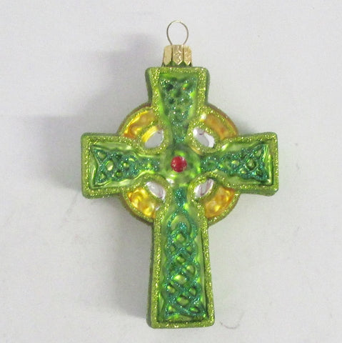 Celtic Cross - Blown Glass Christmas Ornament