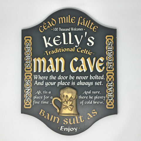 Irish Celtic Man Cave Personalized Sign 4510 Home Bar Sign
