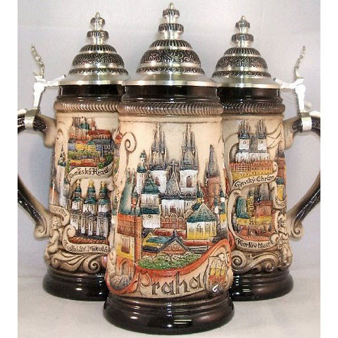 Czech Republic Prague Praha Rustic Panorama .5L Beer Stein