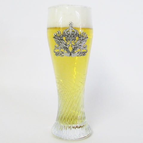 Dragon Pewter Crest .5L Twisted Pilsner Glass