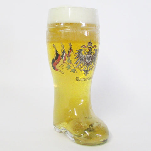 1L Authentic German Glass Beer Boot - German Eagle & Multiple Flags
