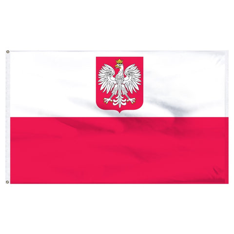 Poland Flag with Polish Eagle 3'x5' (Exterior Quality)