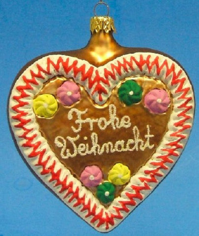 Frohe Weihnacht (Merry Christmas) Gingerbread Heart - Blown Glass Ornament