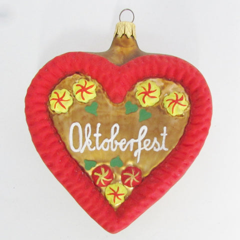 Oktoberfest German Gingerbread Heart - Blown Glass Ornament