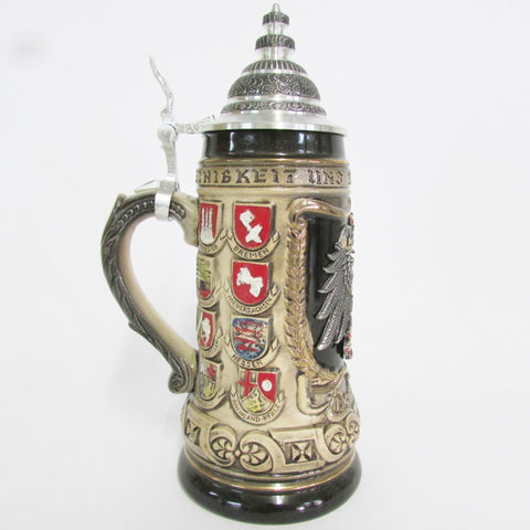 Eagle Pewter Relief State Crests .5L Beer Stein