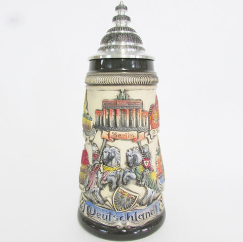 Rustic Panoramic Germany Knights .5L Beer Stein