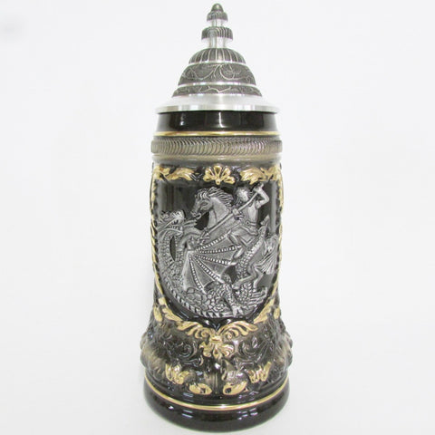 St George Dragon Slayer Pewter .5L Beer Stein