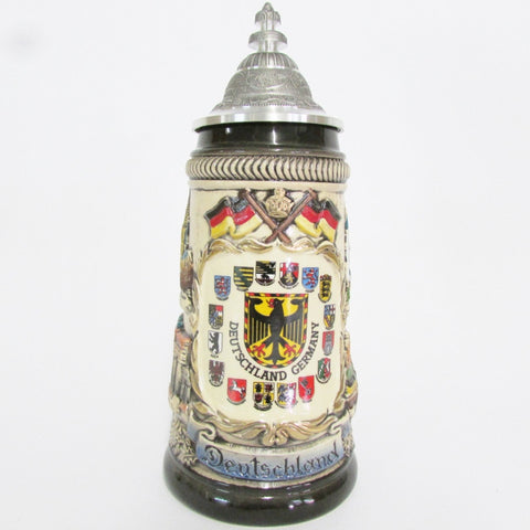 German Imperial Eagle Coat of Arms with Crests Rustic .25L Beer Stein