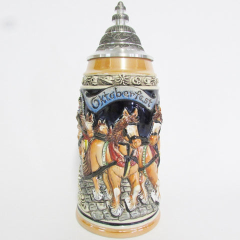 Oktoberfest Horse Drawn Beer Wagon German 1L Beer Stein