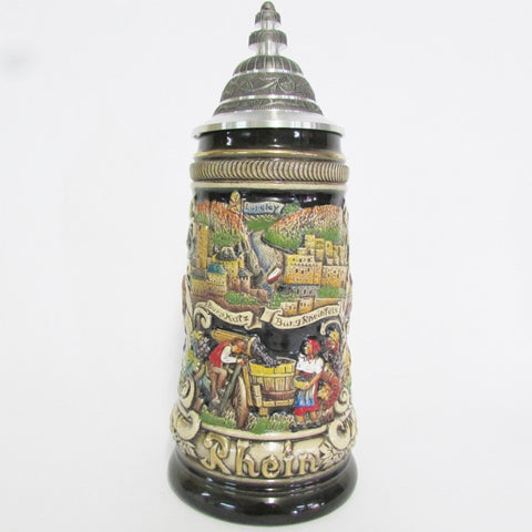 Rhein Panorama Black .5L German Beer Stein
