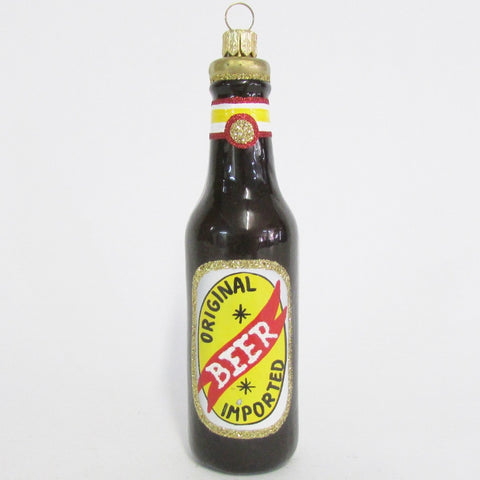 Imported Beer Bottle - Blown Glass Ornament