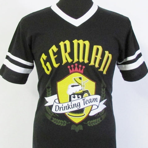 German Drinking Team Gold Crest Tshirt V-Neck Black