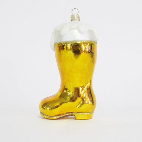 Oktoberfest Beer Boot - Blown Glass Ornament