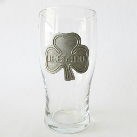 Ireland Pint Glass with Pewter Relief