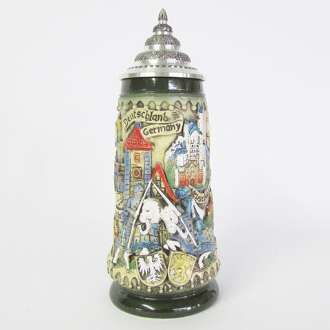 Deutschland Jousting Knights Panoramic Rustic .5L Beer Stein