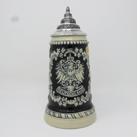 Deutschland German Eagle Crest Black .5L German Beer Stein