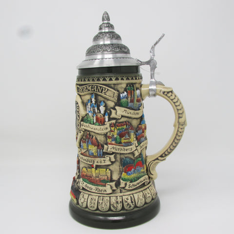 German Traveler Eagle Crest 1L Beer Stein